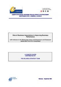 Role of Business Associations in Improving Business Performance