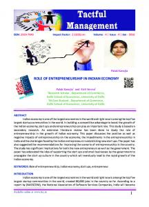 ROLE OF ENTREPRENEURSHIP IN INDIAN ECONOMY