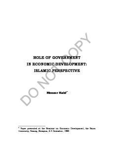 ROLE OF GOVERNMENT IN ECONOMIC DEVELOPMENT: ISLAMIC PERSPECTIVE