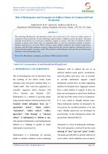 Role of Hydroponics and Aeroponics in Soilless Culture in Commercial Food Production