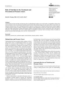 Role of Nutrition in the Treatment and Prevention of Pressure Ulcers