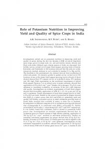 Role of Potassium Nutrition in Improving Yield and Quality of Spice Crops in India