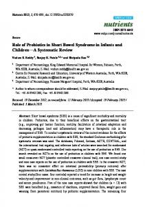 Role of Probiotics in Short Bowel Syndrome in Infants and Children A Systematic Review