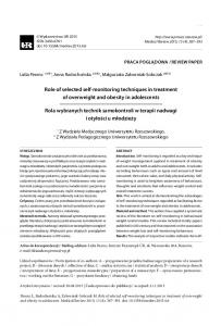 Role of selected self-monitoring techniques in treatment of overweight and obesity in adolescents 387