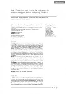 Role of selenium and zinc in the pathogenesis of food allergy in infants and young children