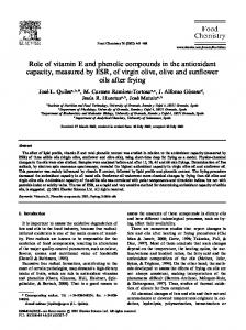 Role of vitamin E and phenolic compounds in the antioxidant capacity, measured by ESR, of virgin olive, olive and sunflower oils after frying