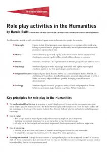 Role play activities in the Humanities