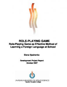 ROLE-PLAYING GAME Role-Playing Game as Effective Method of Learning a Foreign Language at School