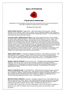 ROLL OF HONOUR. The Great War