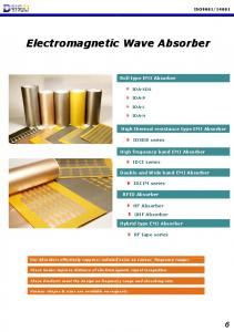 Roll type EMI Absorber. High thermal resistance type EMI Absorber. IDSOB series. High frequency band EMI Absorber. IDCI series