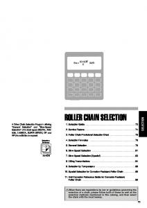 ROLLER CHAIN SELECTION SELECTION. 1. Selection Guide Service Factors Roller Chain Provisional Selection Chart 75