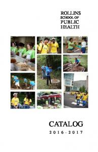 ROLLINS SCHOOL OF PUBLIC HEALTH CATALOG