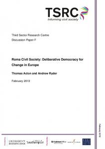 Roma Civil Society: Deliberative Democracy for Change in Europe