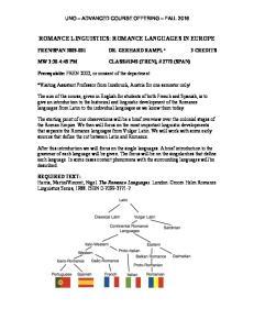 ROMANCE LINGUISTICS: ROMANCE LANGUAGES IN EUROPE