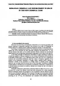 ROMANIAN CRIMINAL LAW ENFORCEMENT IN SPACE IN THE NEW CRIMINAL CODE