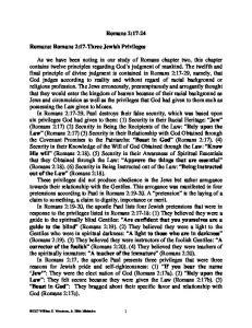 Romans 2: Romans: Romans 2:17-Three Jewish Privileges