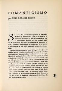 ROMANTICISMO. por LUIS ARAUJO COSTA