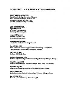 RON STEEL : CV & PUBLICATIONS