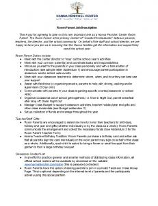 Room Parent Job Description