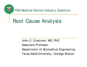 Root Cause Analysis. FDA Medical Device Industry Coalition