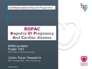 ROPAC Registry Of Pregnancy And Cardiac disease