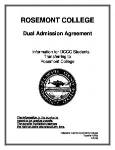 ROSEMONT COLLEGE Dual Admission Agreement