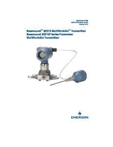Rosemount 3051S MultiVariable Transmitter Rosemount 3051SF Series Flowmeter MultiVariable Transmitter