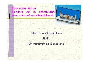 Roser Insa EUI. Universitat de Barcelona