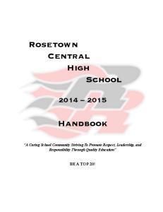 Rosetown Central High School. Handbook