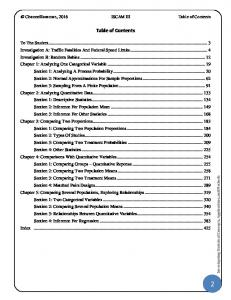Rossman, 2016 ISCAM III Table of Contents. Table of Contents