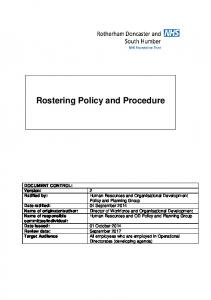 Rostering Policy and Procedure