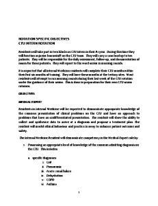 ROTATION SPECIFIC OBJECTIVES CTU INTERN ROTATION