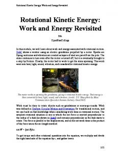 Rotational Kinetic Energy: Work and Energy Revisited