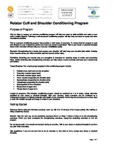 Rotator Cuff and Shoulder Conditioning Program