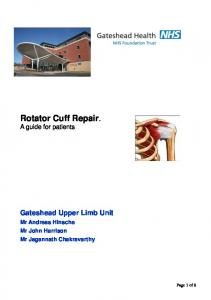 Rotator Cuff Repair. A guide for patients