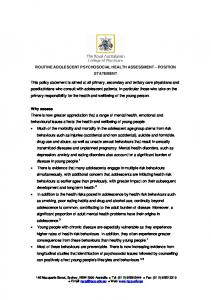 ROUTINE ADOLESCENT PSYCHOSOCIAL HEALTH ASSESSMENT POSITION STATEMENT
