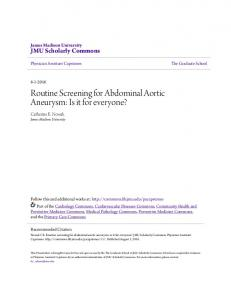 Routine Screening for Abdominal Aortic Aneurysm: Is it for everyone?