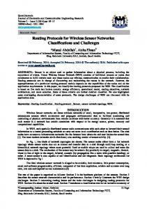 Routing Protocols for Wireless Sensor Networks: Classifications and Challenges