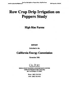 Row Crop Drip Irrigation on Peppers Study