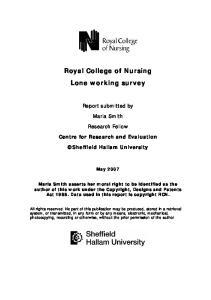 Royal College of Nursing Lone working survey