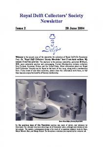 Royal Delft Collectors Society Newsletter