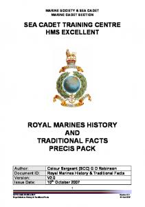ROYAL MARINES HISTORY AND TRADITIONAL FACTS PRECIS PACK
