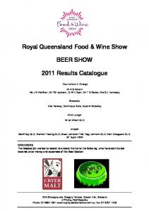 Royal Queensland Food & Wine Show BEER SHOW Results Catalogue