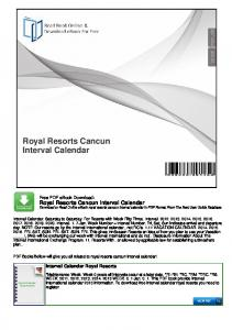 Royal Resorts Cancun Interval Calendar