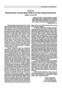 Rozpoznawanie i leczenie alergii. Medycyna kontra metody alternatywne
