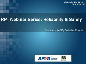 RP 3 Webinar Series: Reliability & Safety