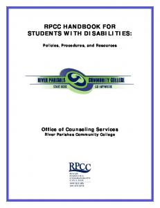 RPCC HANDBOOK FOR STUDENTS WITH DISABILITIES: