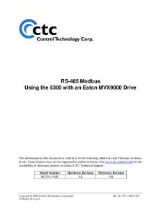 RS-485 Modbus Using the 5300 with an Eaton MVX9000 Drive