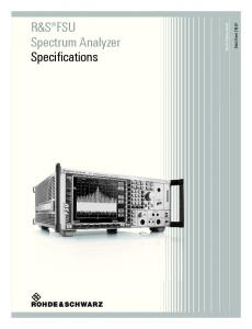 R&S FSU Spectrum Analyzer Specifications