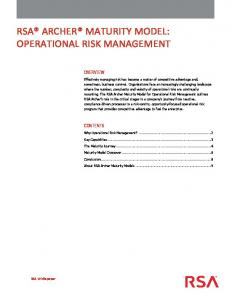 RSA ARCHER MATURITY MODEL: OPERATIONAL RISK MANAGEMENT